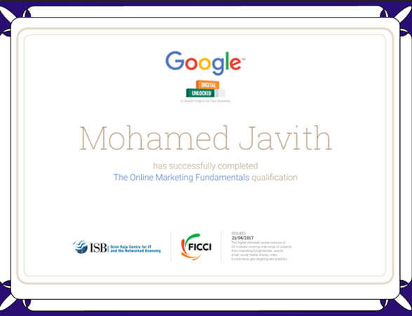 Mohamed Javith - Google Certified