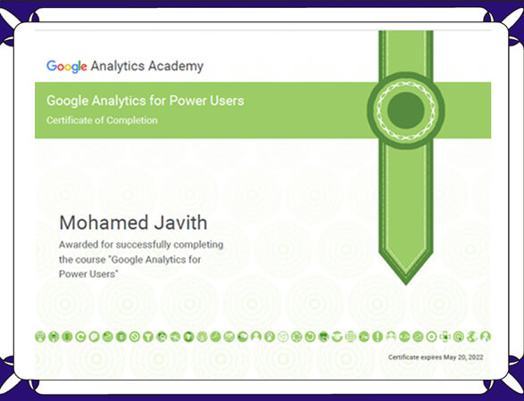 Mohamed Javith - Google Analytics Certified